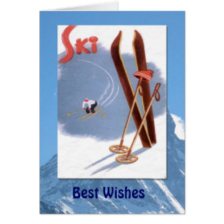 Winter Sports - Vintage skis and poles Card