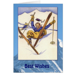 Winter Sports - Vintage tumble in the snow Card