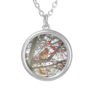 Winter Squirrel In Berry Tree Silver Plated Necklace