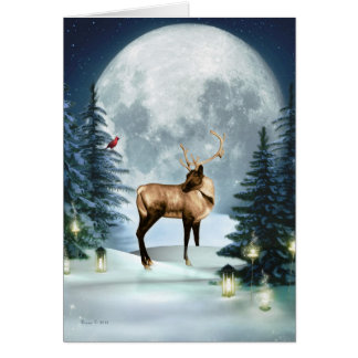 Winter Stag Digital Art Blank Note Holiday Card
