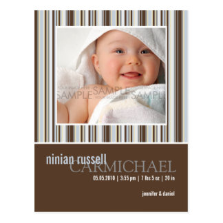 Winter Stripes Brown • Baby Announcement Postcard