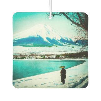Winter Stroll Beneath Mt. Fuji 富士山 Vintage Japan Car Air Freshener