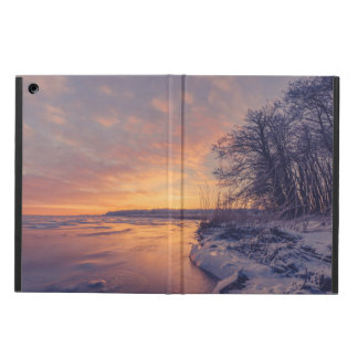 Winter sunrise by a lake iPad air cases