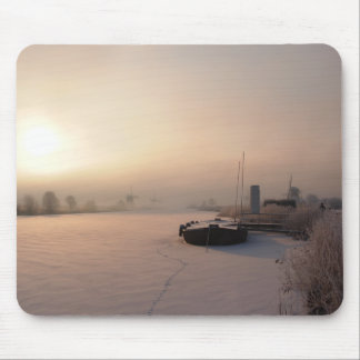 Winter sunrise in the Netherlands mousepad