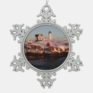 Winter Sunset at Nubble Light Snowflake Pewter Christmas Ornament