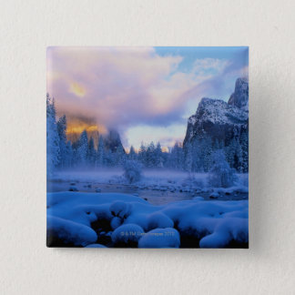 Winter Sunset in Yosemite National Park 15 Cm Square Badge