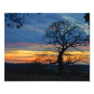 Winter sunset scene photo print
