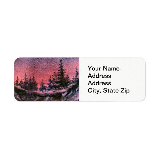 Winter sunset snow covered pine tree landscape. return address label