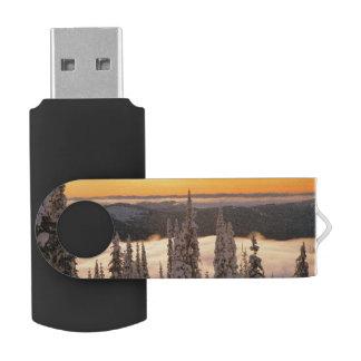 Winter sunset swivel USB 2.0 flash drive