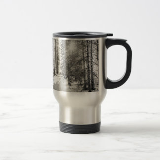 Winter Sunshine Forest Shades Of Gray Travel Mug