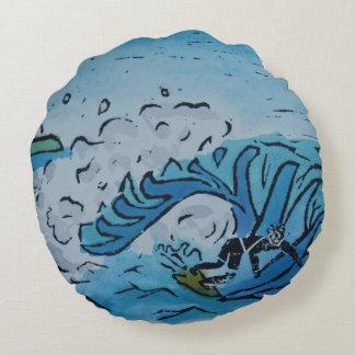 Winter Surfer Round Cushion