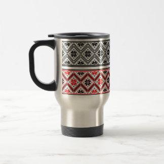 Winter Sweater Red, Black & Silver Travel Mug