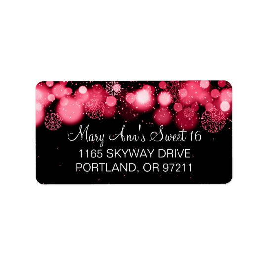Winter Sweet 16 Birthday Party Red Bokeh Lights Label
