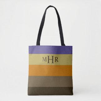 Winter Table Palette Stripes Monogram Tote Bag