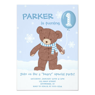 Winter Teddy Bear Balloon 1st Birthday Invitation