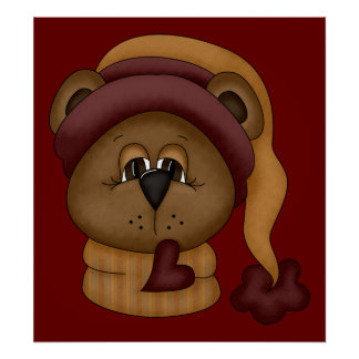 Winter Teddy Bear Poster and Print