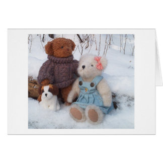 Winter Teddy Couple with puppy Card