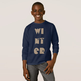 Winter Text Funny Typography Season Navy Blue T-Shirt