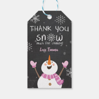 Winter thank you Snow much favor tags Snowman Pink