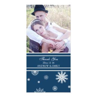 Winter Thank You Wedding Photo Card Blue White
