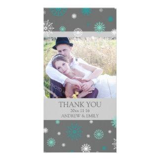 Winter Thank You Wedding Photo Card Grey Aqua