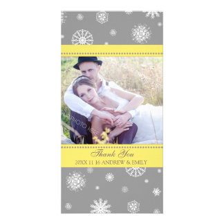 Winter Thank You Wedding Photo Card Grey Yellow