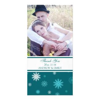 Winter Thank You Wedding Photo Card Peacock Blue