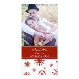 Winter Thank You Wedding Photo Card Red White