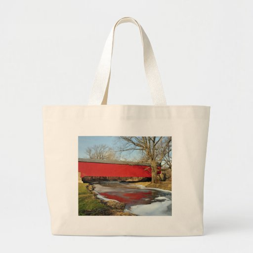 Winter Thaw Covered Bridge Canvas Bags