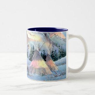 WINTER TIPIS & APPALOOSA by SHARON SHARPE Two-Tone Coffee Mug