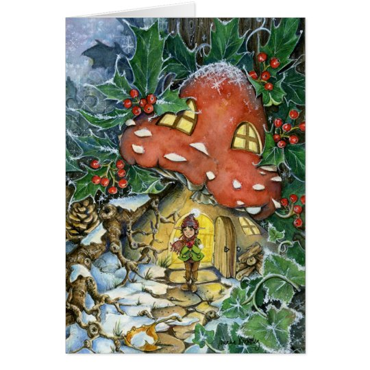 Winter Toadstoole Christmas Holiday Card