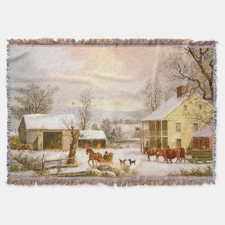 Winter Town Snow Horses Sleigh Throw Blanket