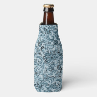 Winter traditional paisley floral blue pattern bottle cooler