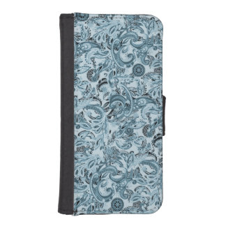 Winter traditional paisley floral blue pattern DIY iPhone SE/5/5s Wallet Case