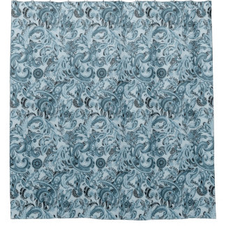 Winter traditional paisley floral blue pattern DIY Shower Curtain