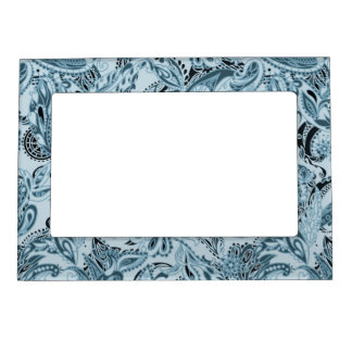 Winter traditional paisley floral blue pattern picture frame magnets