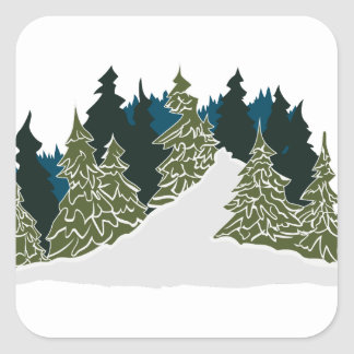 Winter Trail Scene Square Sticker