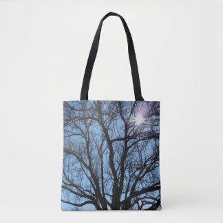 Winter Tree Branches and Blue Sky on Tote Bag