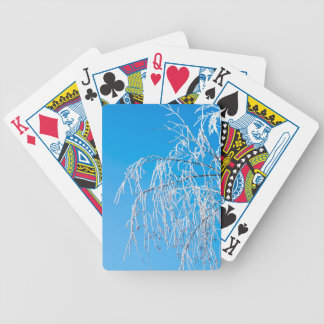 Winter tree branches covered with frost snow bicycle playing cards