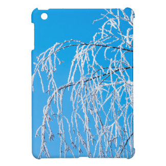 Winter tree branches covered with frost snow cover for the iPad mini