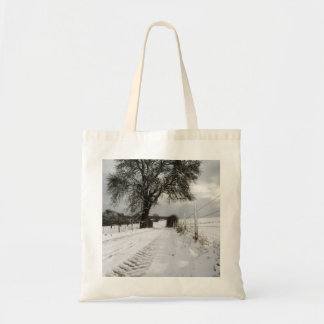 Winter Tree Country Road + Snow Tote Bags