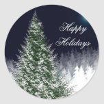 Winter Tree Custom Holiday Card Envelope Seals Round Stickers