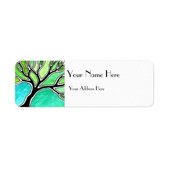 Winter Tree in Green Tones Return Address Label