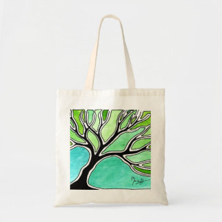 Winter Tree in Green Tones Tote Bag