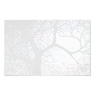 Winter Tree on Blue Blackground Cross Hatched Personalised Stationery