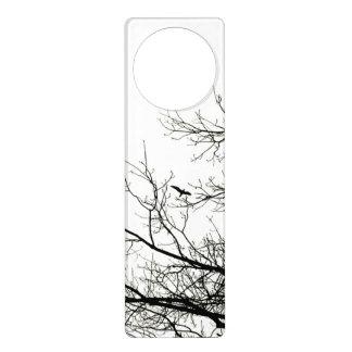 Winter Trees and Flying Bird Silhouettes Door Hangers