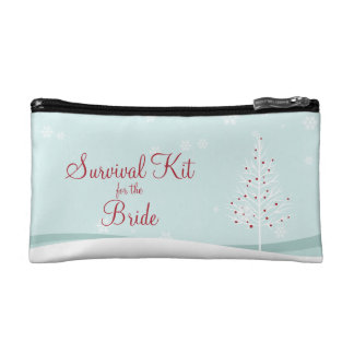 Winter Trees and Snowflakes Survival Kit Makeup Bags