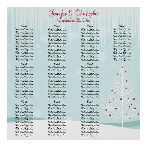 Winter Trees and Snowflakes Wedding Seating Chart Print