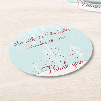 Winter Trees and Snowflakes Wedding Thank You Round Paper Coaster