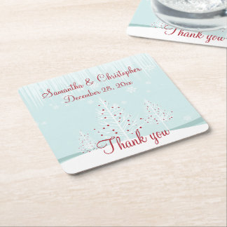 Winter Trees and Snowflakes Wedding Thank You Square Paper Coaster